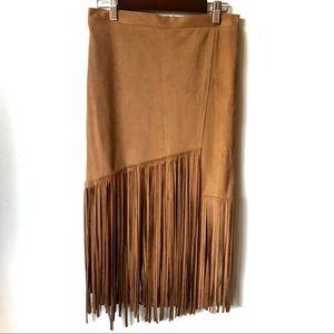 Dresses & Skirts - Faux Suede Fringe Midi Skirt Tan